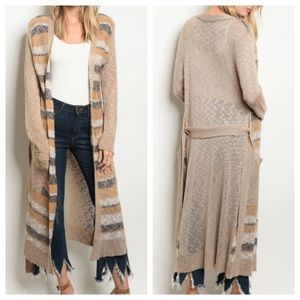 Sweaters - Taupe and Navy Long Cardigan